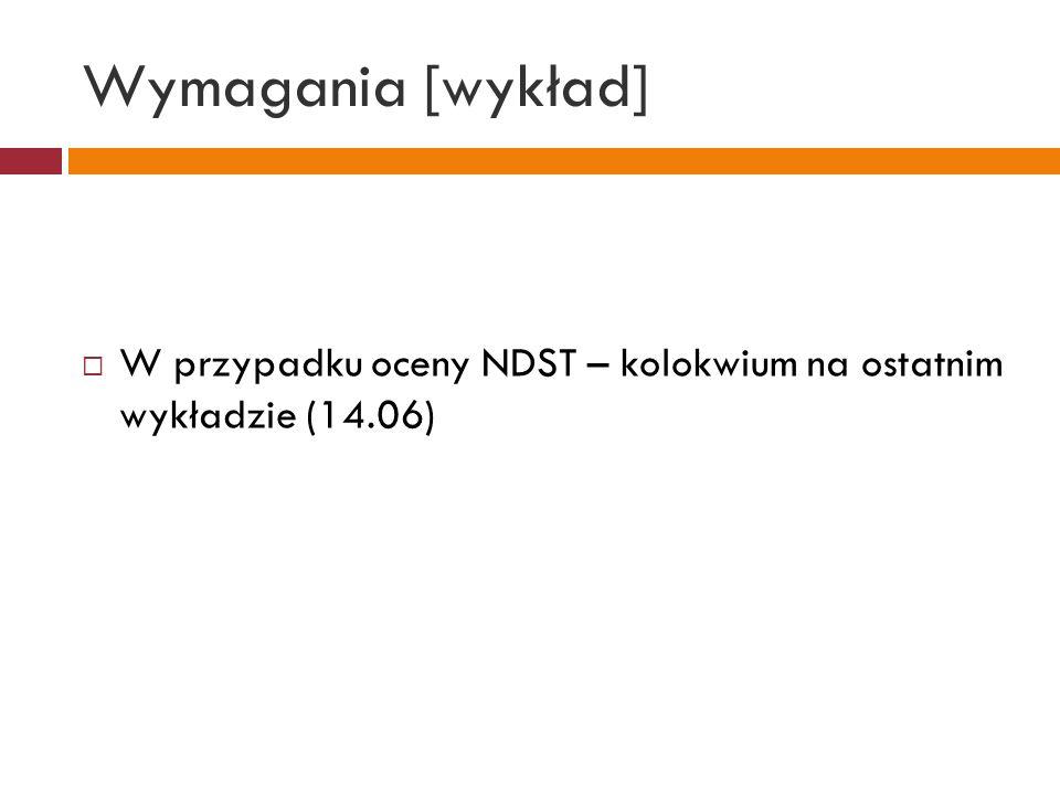 Wymagania [wykład] W przypadku oceny NDST – kolokwium na ostatnim wykładzie (14.06)